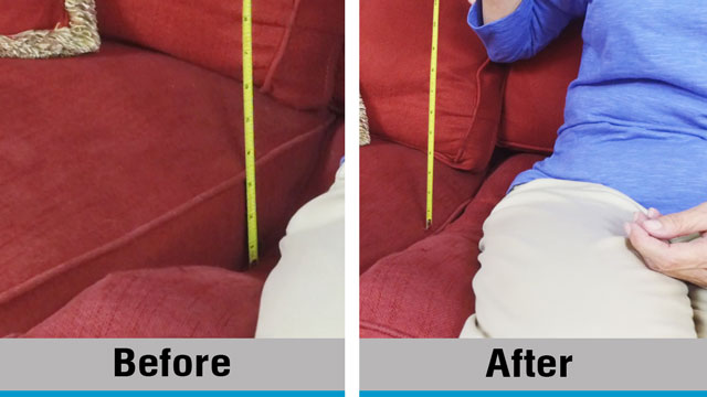 Sags away before and after photo of sofa